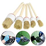 Mapletop 5Pcs Soft Car Detailing Brushes for Cleaning Dash Trim Seats Wheels Wood Handle