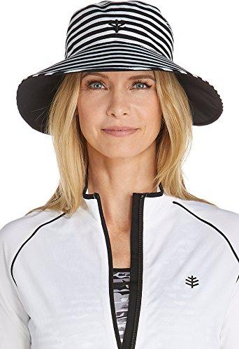 Coolibar UPF 50+ Women's Reversible Pool Hat - Sun Protective (One Size - Black/White Stripe)