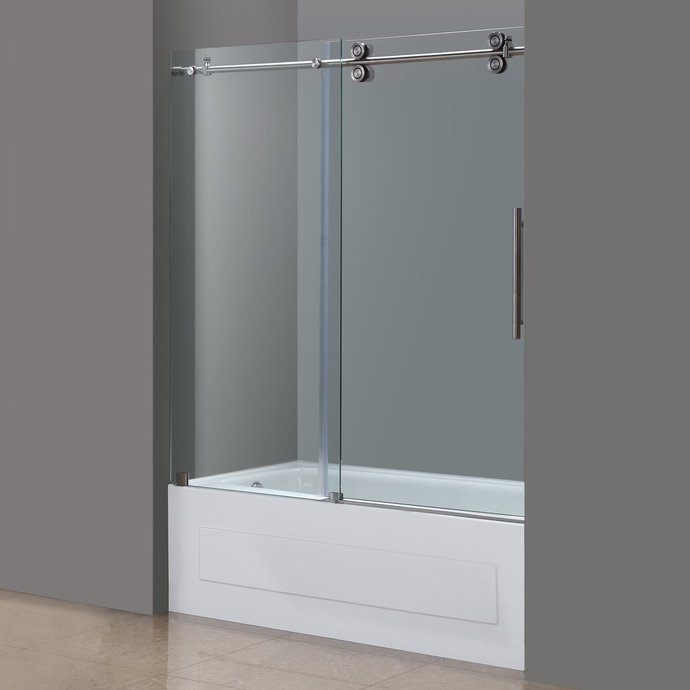 Aston TDR978-SS-60-10 60-Inch x 60-Inch Completely Frameless Tub-Height Shower Sliding Door, Stainless Steel Finish