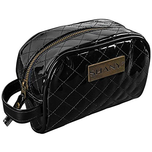 Purse Quilted Traveler Handbag (SHANY Quilted Travel Cosmetic Bag – Faux Patent Leather Zipper Organizer with Two Interior Pockets and Exterior Handle - BLACK)