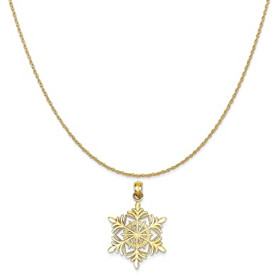 Amazon 14k yellow gold snowflake pendant on a 14k yellow gold 14k yellow gold snowflake pendant on a 14k yellow gold rope chain necklace 16quot aloadofball Image collections