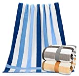 Firheas Ideal for Everyday use Skin-Friendly Sheer Fast Drying Striped Highly Absorbent Easy Care No Fading Antibacterial Cotton Bath Towel Set AS3 70140cm