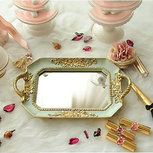 Plate Design Rectangular (Decorative jewelry trays,European style Roses Mirrored Ornate decorative tray rectangular jewelry plate photo frame wedding gifts-A 36x21x4cm(14x8x2))