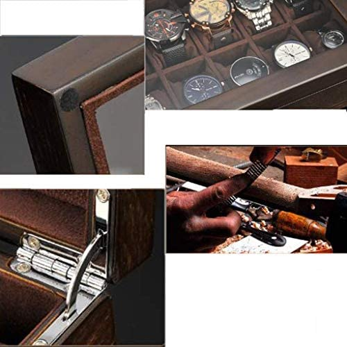 SBSNH ストレージボックス-10ビットウォッチボックスストレージボックス木製ジュエリーホームディスプレイ木製ボックスシンプルウォッチボックス