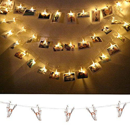 accmor 40 Photo Clips String Lights/Holder, Rose Gold Metal Wall Decor Geometric Boho Fairy Lights for Hanging Photos Pictures Cards and Memos, Indoor Dorms Bedroom Decoration (Warm White)