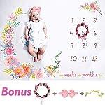 Tiny-Smiles-Baby-Monthly-Milestone-Blanket-Large-60×40-Bonus-Floral-Wreath-Headband-Soft-Photography-Background-Blanket-Newborn-Girls-or-Boys-Photo-Prop-Best-Months-Watch-Me-Grow