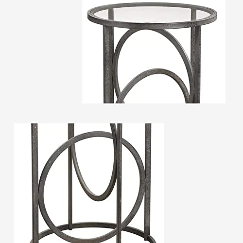 Axdwfd Wrought Iron Frame Tempered Glass Countertop Coffee Table Industrial Style Sofa Side Table Round Table 45 60CM / 18'' 24''