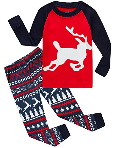 Little Pajamas Boys Girls Christmas Pajamas Reindeer Cotton Toddler Clothes Kids Pjs Children Sleepwear Size 8T