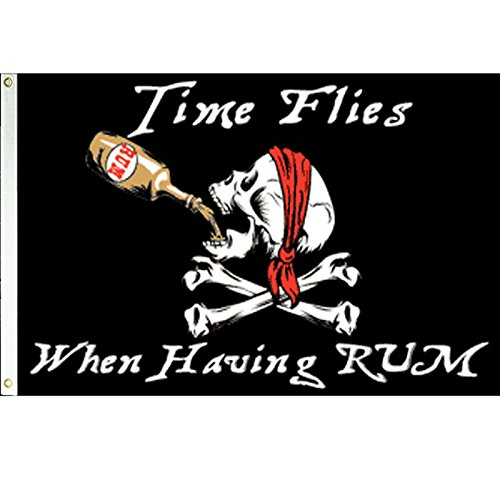 Time Flies When Having Rum Pirate 3x5 Polyester Flag