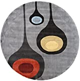 Momeni Rugs NEWWANW129STE790R New Wave Collection, 100% Wool Hand Carved & Tufted Contemporary Area Rug, 7'9″ Round, Steel Grey Review