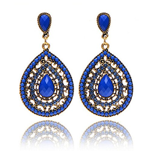 BSGSH Women's Teadrop Chandelier Dangle Earrings Bohemian Retro Earrings for Wedding Party Prom (Blue)