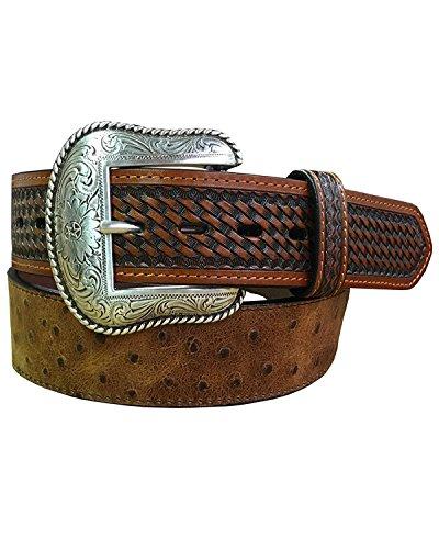 (Roper Men's Cognac Ostrich Print Leather Belt Cognac 42)