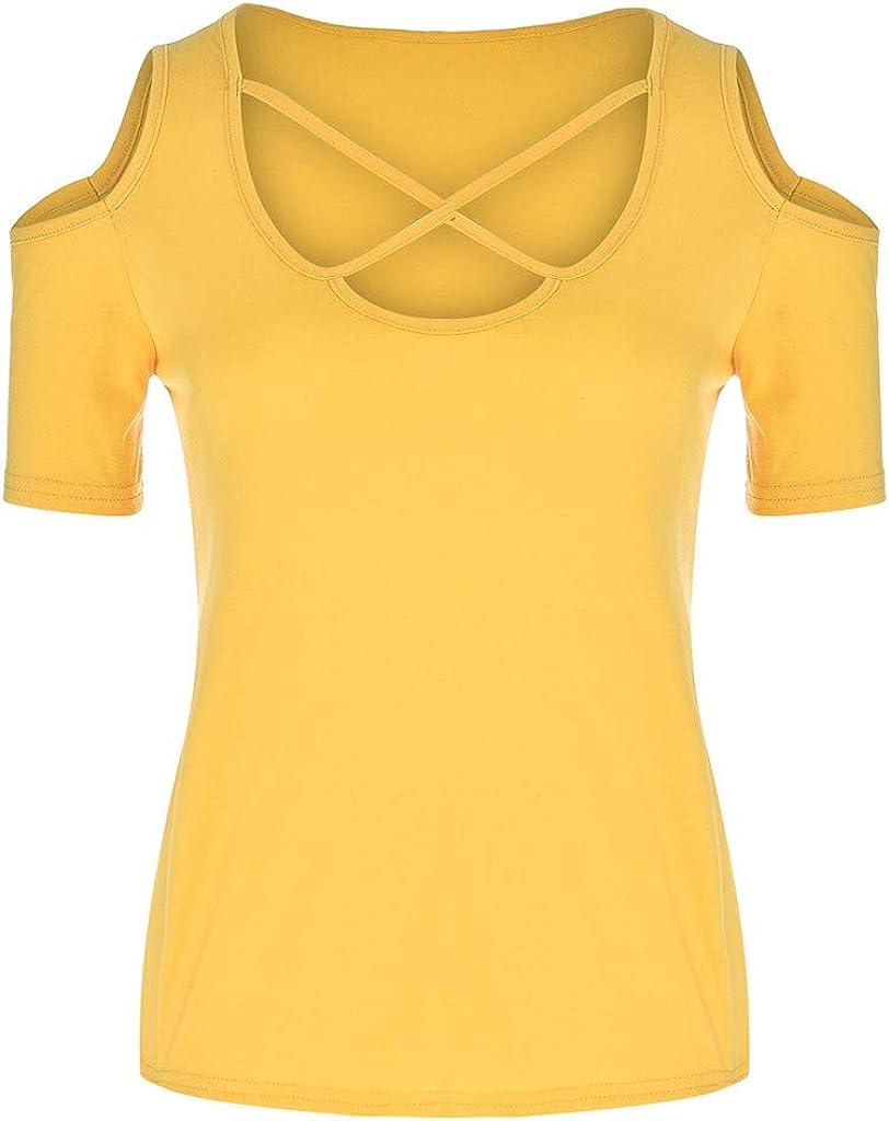 iZZB - Camisa de Manga Corta para Mujer, diseño Sexy Amarillo XL ...