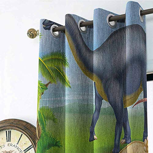 Dinosaur Kitchen Gromets Curtain and Valances Set Drapes for Bedroom, Different Types of Dinosaurs Natural Jungle Environment T-Rex Triceratops Cartoon Household Darkening Curtains, Multicolor, W96