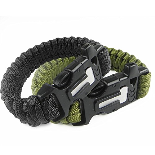 Pro Paracord Bracelet | Amazing Multi Function Black Green Bracelet with Emergency 13.1ft Cord Buckle Flint Blade Whistle for Outdoor Safari Army Survival Hiking Camping