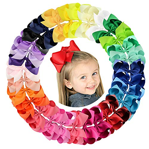 6inch Large Solid Grosgrain Ribbon Hair Bows with Alligator Clips for Teens Kids Set of 30 Colors