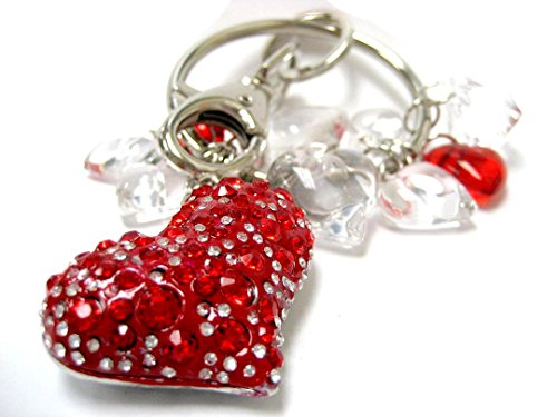 - Linpeng KPD12-4 Fancy Key Ring Keyring with Rhinestone Heart & Charms
