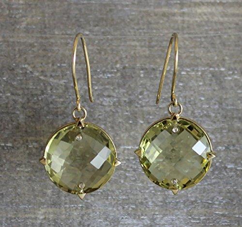 Citrine Lemon Quartz Gemstone 14kt Yellow Gold Drop Earrings Gifts for (Gold Lemon Quartz Ring)