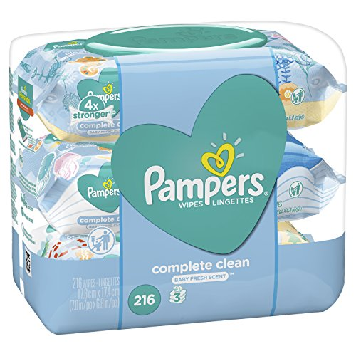 Pampers Baby Wipes Complete Clean Scented 3X Pop-Top Packs, 216 Count (Pack of - Count Pack 216