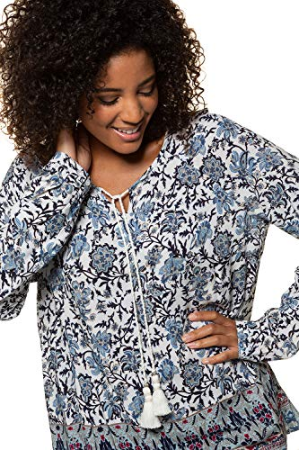 en Popken Taille Floral Bleu Femme Tops Shirt Femmes 713511 Tailles Ulla Grande T imprim Vrac Grandes Casual Marine Tunique 8gdqdx4w