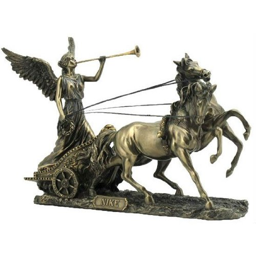 Greek Goddess Nike with Trumpet on Two Horse Chariot 11 1/4 Inch Cold Cast Bronze Statue -  Unicorn Studio, WU75984A4