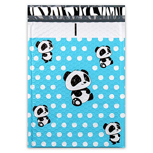 Shiplies #2 Cute Panda Printed Padded Envelopes Cushioned Poly Bubble Mailers with Peel-N-Seal (25 Pack, 8.5 x 12 Inches) ()