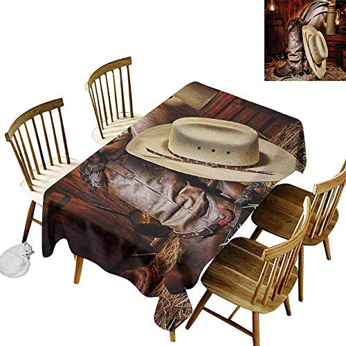 Mannwarehouse Western Wrinkle Resistant Tablecloth Authentic American West Rodeo Elements with Antique Supplies Retro Artwork Photo Excellent Durability W54 x L72 Brown Beige