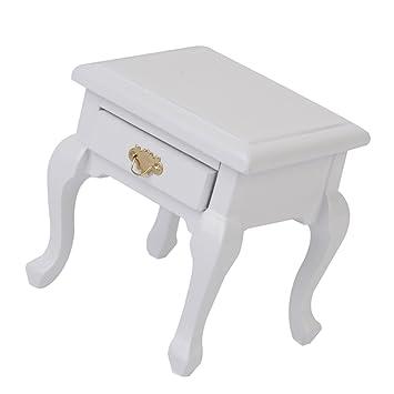 1/12 Dollhouse Miniatura Mesita de Noche de Madera de Color Blanco