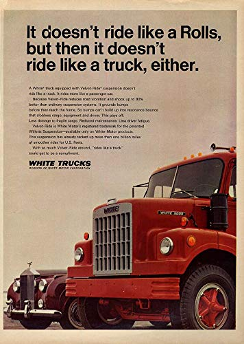 It doesn't ride like a Rolls but not like a truck either White Truck ad 1968 ()