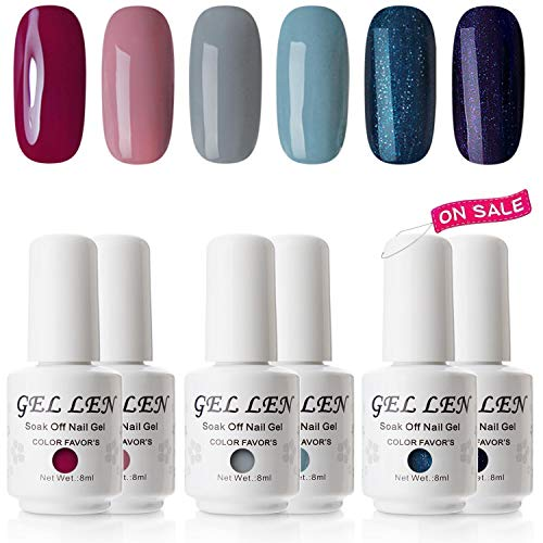 - Gellen Fashion Gel Manicure Pure Shimmering 6 Colors - Soak Off Gel Nail Polish Set