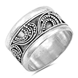 Bali Bar Bead Ball Unique Ring New .925 Sterling Silver Wide Band Sizes 6-10