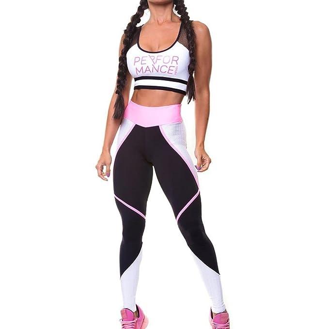 001ca5534f60 Juleya 2Pcs Donne Yoga Palestra Fitness Tute Set di abbigliamento, Stampa di  lettere Tute sportive Tops e pantaloni sportivi Leggings scarni Sportwear  Tuta ...