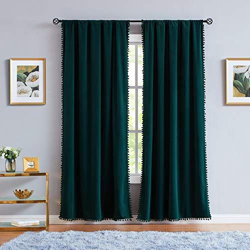 Pompom Green Curtains Velvet Drapes Bedroom Window Curtains 84 Inch Long Living Room Rod Pocket Window Treatment Set 2 Panels