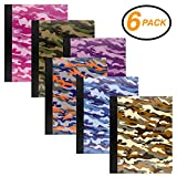 Emraw Camouflage Composition Book Paper 100 sheet Notebook Meeting school Journals Office Dairy Note Books Hard cover Assorted Color Writing Book Pack of 6