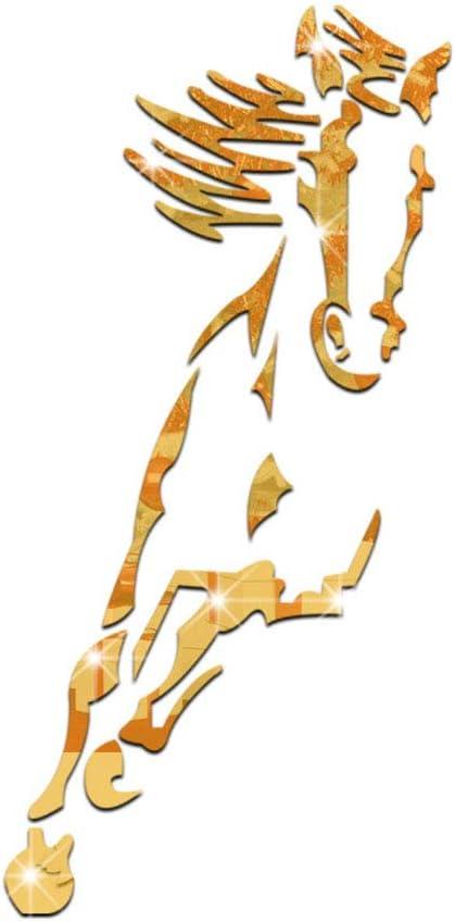 LAHappy Vinilo Creativo Espejo Caballo Bricolaje Impermeable Espejo Moderno Acrílico Plástico Autoadhesivo Cuadrado Fondo TV Azulejo Espejo Etiqueta de La Pared(92x45cm),Oro