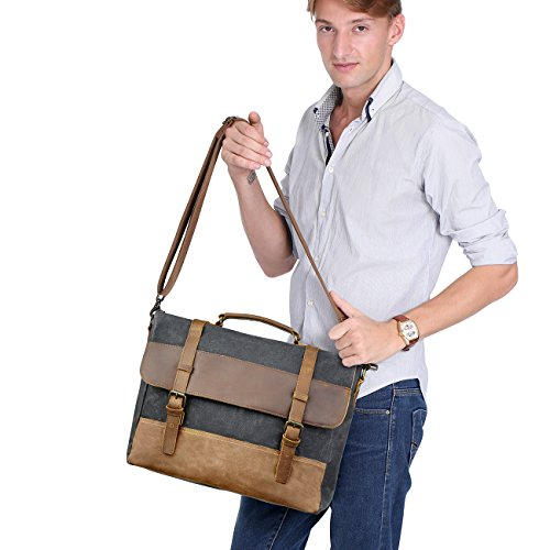 WOWBOX 15.6 Inch Messenger Bag for Mens Waxed Waterproof Canvas Genuine Leather Laptop Messenger Bags Men Business Briefcase Vintage Large Shoulder Bag School College Satchel (Gray) by Wowbox (Image #5)