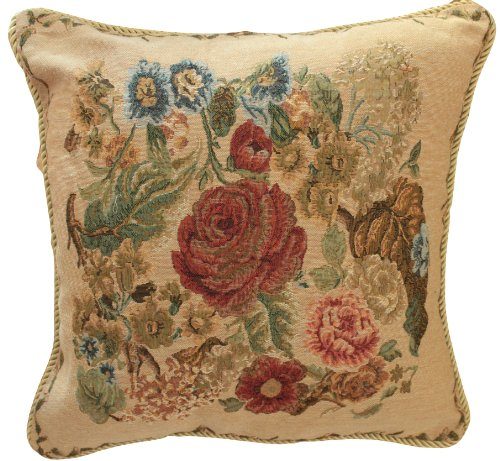 (Tache 1 Piece 18 X 18 Inch Colorful Floral Country Rustic Morning Meadow Decorative Cushion Throw Accent Pillow Cover - 3098)