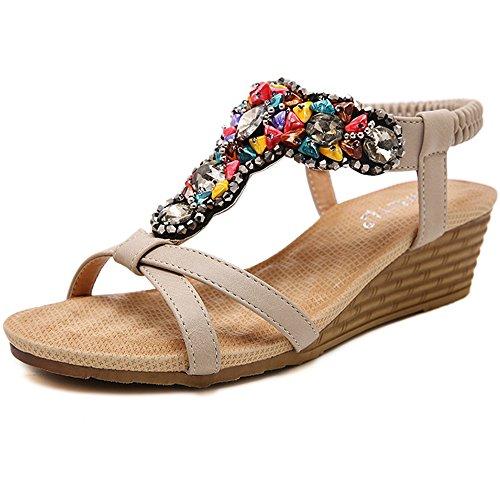 XIAOLIN 夏のファッションミッドヒールの靴色のラインストーンビーズエスニックスタイル快適なソフト女性のサンダルのヒールの高さ4.5 Cm(オプションのサイズ) (色 : 02, サイズ さいず : EU37/UK4.5-5/CN37)