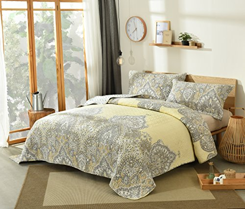 Yellow Daffodils - DaDa Bedding Pale Daffodil Bedspread Set - Bohemian Light Yellow Grey Floral Paisley - Twin - 2-Pieces