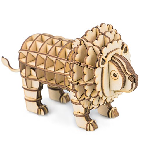 Lion Puzzle Wooden - Rolife Build Your Own 3D Wooden Assembly Puzzle Wood Craft Kit Lion Model, Gifts for Kids and Adults