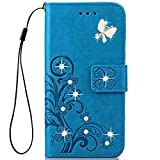 lg 3 accessories - LG Stylo 3 Wallet Case,HAOTP 3D Handmade Bling Crystal Rhinestone Butterfly Floral Lucky Flowers Embossed PU Flip Stand Card Slots Holders Leather Case for LG Stylo 3 Plus/LG LS777 (Bling/Blue)