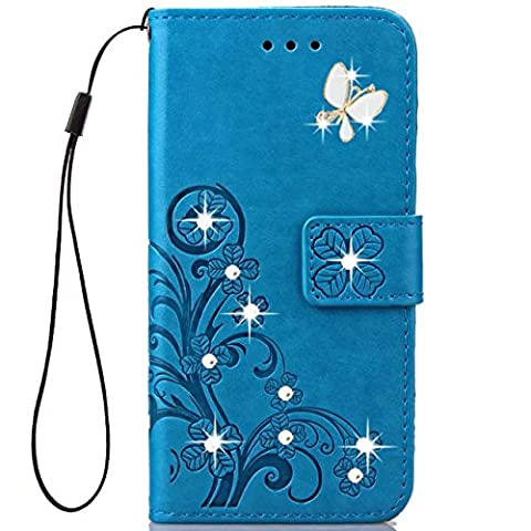 Moto G Play Case,HAOTP 3D Fashion Handmade Bling Crystal Rhinestone Butterfly Floral Lucky Flowers PU Flip Stand Credit Card ID Holders Wallet Leather Case for Moto G4 Play (2016) (Bling Phone Cases For Moto G)