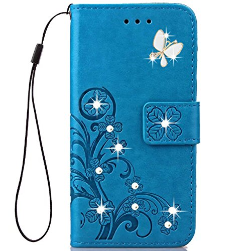 Google Pixel 2 XL Wallet Case,HAOTP 3D Handmade Bling Crystal Rhinestone Butterfly Floral Lucky Flowers Embossed PU Flip Stand Card Slots Holders Leather Case for Google Pixel 2 XL (Bling/Blue)
