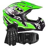 Youth Kids Offroad Gear Combo Helmet Gloves Goggles DOT Motocross ATV Dirt Bike Motorcycle Green Black, Small