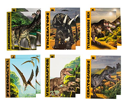 Two Pocket Folders Bulk - 12-Pack Letter Size File Folders, 6 Dinosaur Designs, School Folders with Pockets, 12 x 9.2 Inches
