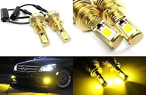 Bombilla LED Canbus COB H7 499 de 60 W, 3000 lúmenes, 2 unidades, color amarillo, luz de marcha nocturna, luz antiniebla DRL: Amazon.es: Coche y moto