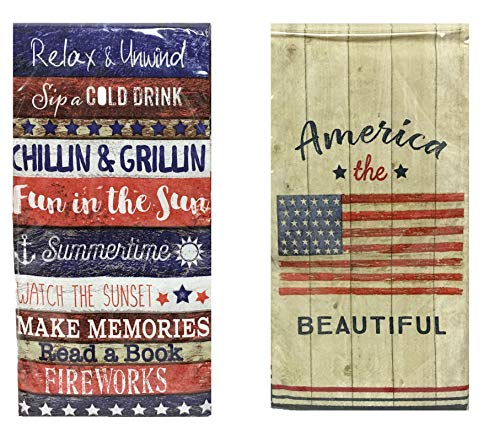 Patriotic Fourth of July Guest Towels Buffet Napkins 2-Pack Variety 20 ct ea Assorted Designs Patriotic Summer fun messages American the beautiful Flag print