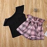 Kids Toddler Baby Girl One Shoulder Solid T-Shirt