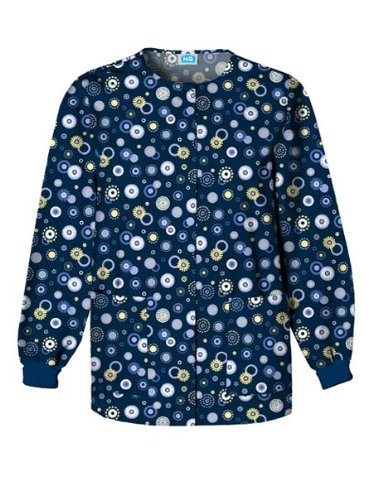 Print Medical Scrub - Cherokee Scrub H.Q Women's Crew Neck Dot Print Jacket Small Print