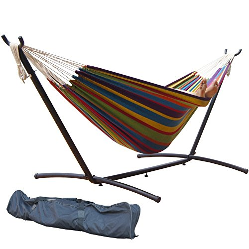 PG PRIME GARDEN 9' Double Hammock with Space Saving Steel Hammock Stand, Elegant Rainbow Stripe by PG PRIME GARDEN